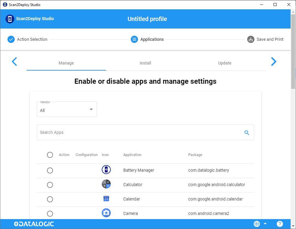 Manage Apps page